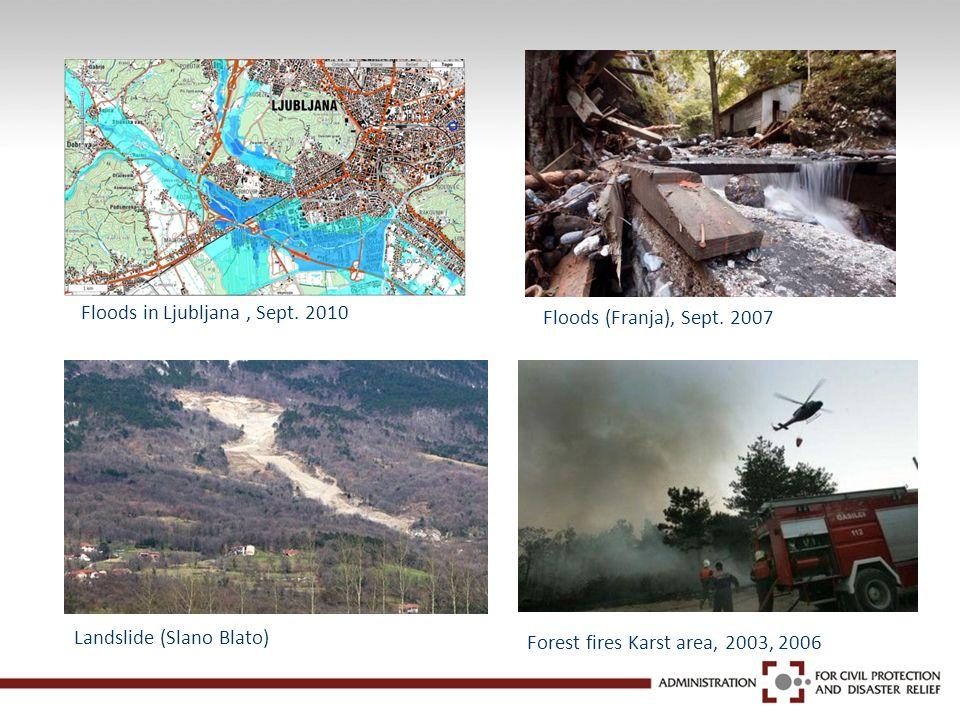 Floods in Ljubljana, Sept. 2010 Floods (Franja), Sept. 2007 Landslide (Slano Blato) Forest fires Karst area, 2003, 2006