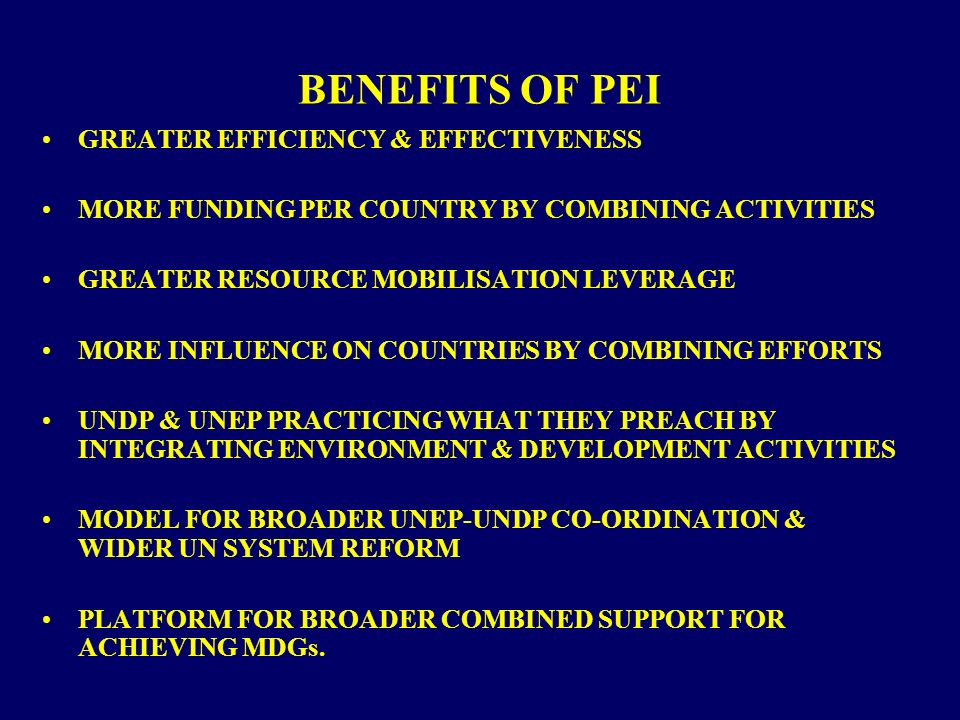 BENEFITS OF PEI GREATER EFFICIENCY & EFFECTIVENESS MORE FUNDING PER COUNTRY BY COMBINING ACTIVITIES GREATER RESOURCE MOBILISATION LEVERAGE MORE INFLUENCE ON COUNTRIES BY COMBINING EFFORTS UNDP & UNEP PRACTICING WHAT THEY PREACH BY INTEGRATING ENVIRONMENT & DEVELOPMENT ACTIVITIES MODEL FOR BROADER UNEP-UNDP CO-ORDINATION & WIDER UN SYSTEM REFORM PLATFORM FOR BROADER COMBINED SUPPORT FOR ACHIEVING MDGs.