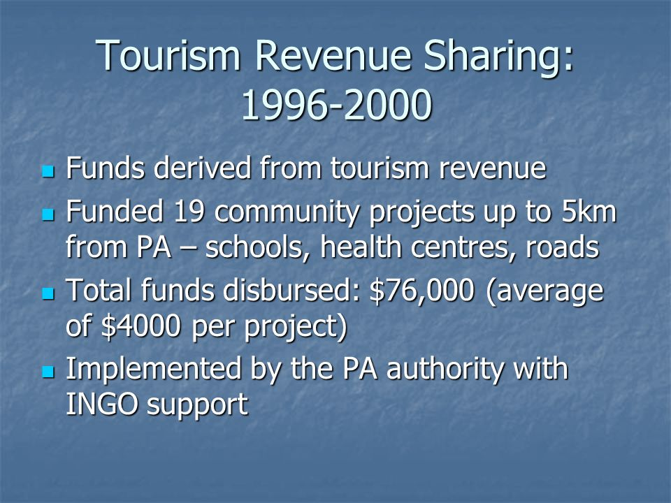 Tourism Revenue Sharing: 1996-2000 Funds derived from tourism revenue Funds derived from tourism revenue Funded 19 community projects up to 5km from P