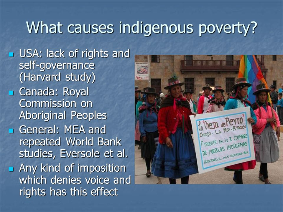 What causes indigenous poverty.