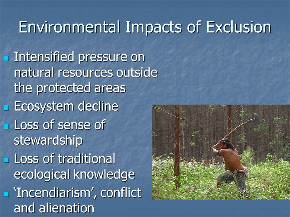 Environmental Impacts of Exclusion Intensified pressure on natural resources outside the protected areas Intensified pressure on natural resources outside the protected areas Ecosystem decline Ecosystem decline Loss of sense of stewardship Loss of sense of stewardship Loss of traditional ecological knowledge Loss of traditional ecological knowledge Incendiarism, conflict and alienation Incendiarism, conflict and alienation