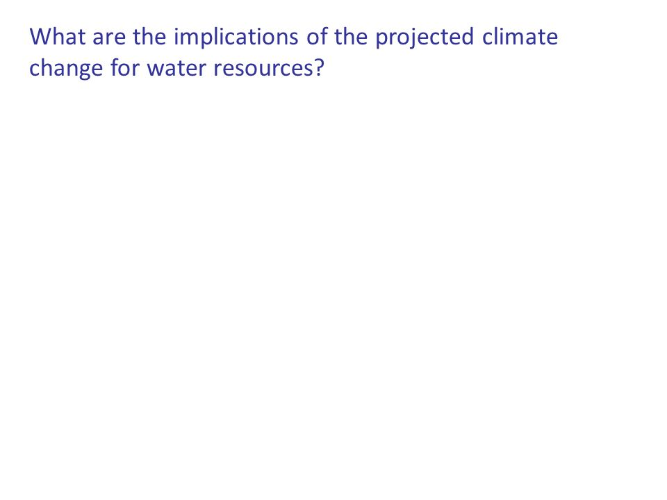 What are the implications of the projected climate change for water resources