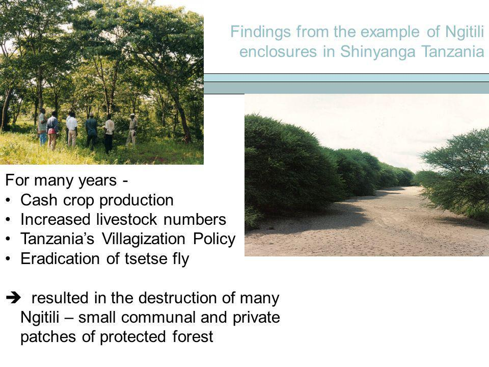 Findings from the example of Ngitili enclosures in Shinyanga Tanzania For many years - Cash crop production Increased livestock numbers Tanzanias Vill