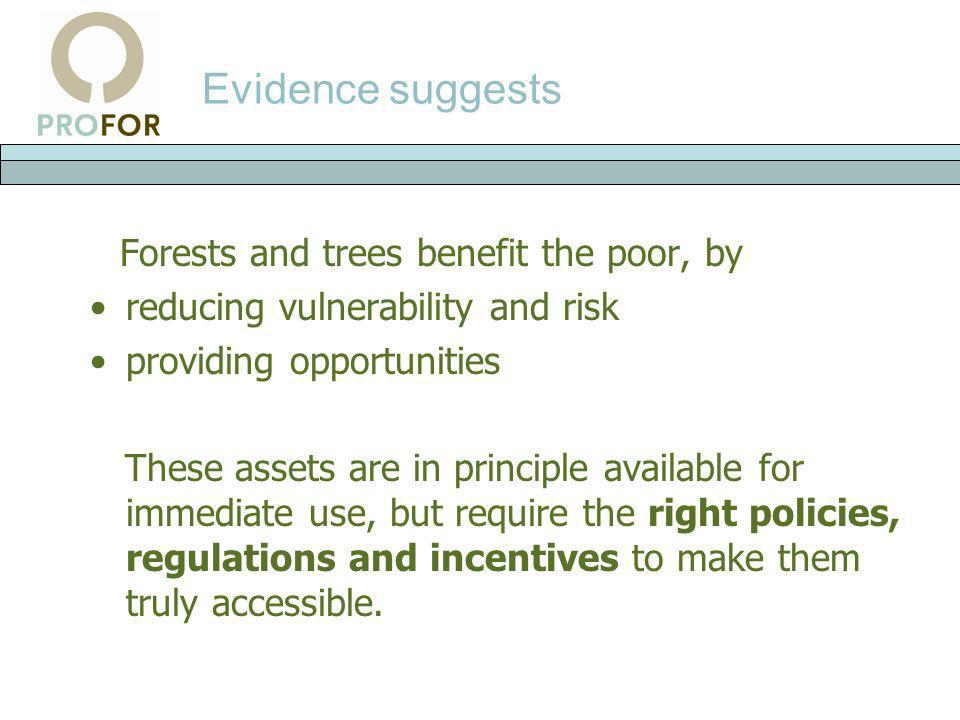 Evidence suggests Forests and trees benefit the poor, by reducing vulnerability and risk providing opportunities These assets are in principle availab