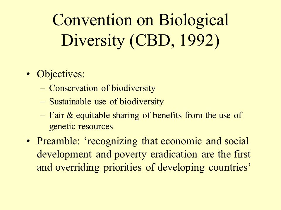 Convention on Biological Diversity (CBD, 1992) Objectives: –Conservation of biodiversity –Sustainable use of biodiversity –Fair & equitable sharing of benefits from the use of genetic resources Preamble: recognizing that economic and social development and poverty eradication are the first and overriding priorities of developing countries