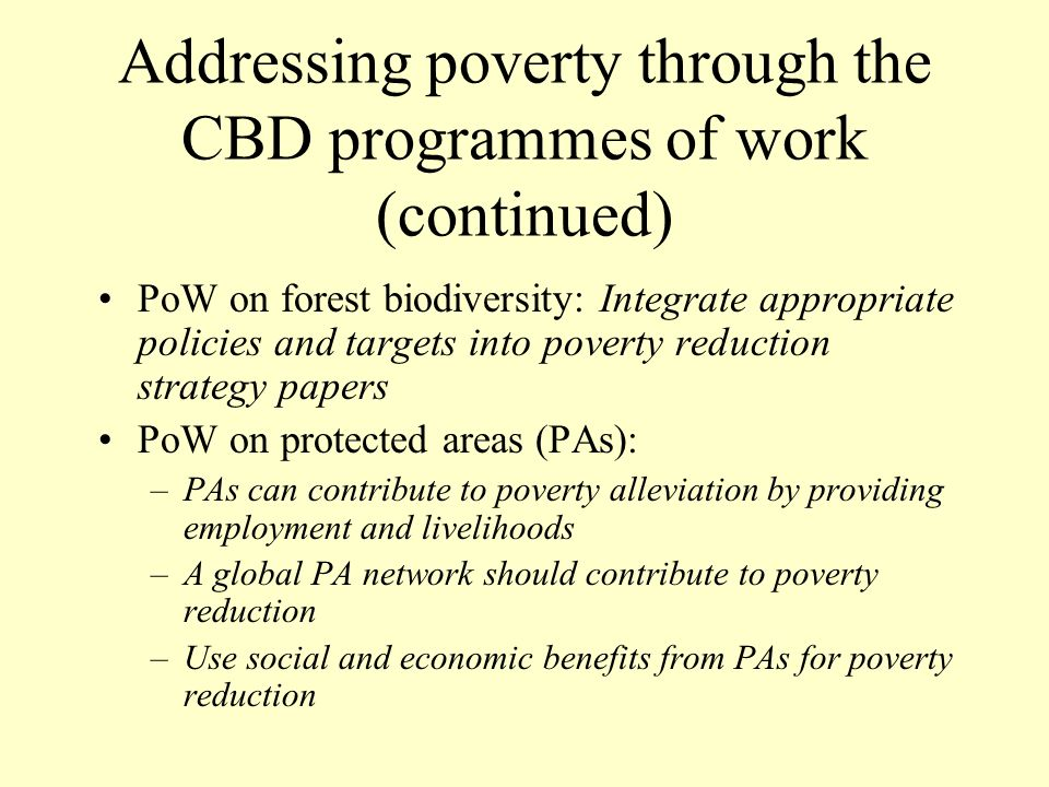 Addressing poverty through the CBD programmes of work (continued) PoW on forest biodiversity: Integrate appropriate policies and targets into poverty reduction strategy papers PoW on protected areas (PAs): –PAs can contribute to poverty alleviation by providing employment and livelihoods –A global PA network should contribute to poverty reduction –Use social and economic benefits from PAs for poverty reduction