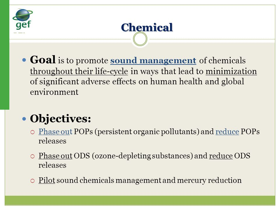 Chemical Goal is to promote sound management of chemicals throughout their life-cycle in ways that lead to minimization of significant adverse effects