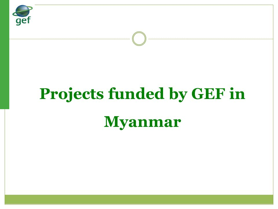 Projects funded by GEF in Myanmar