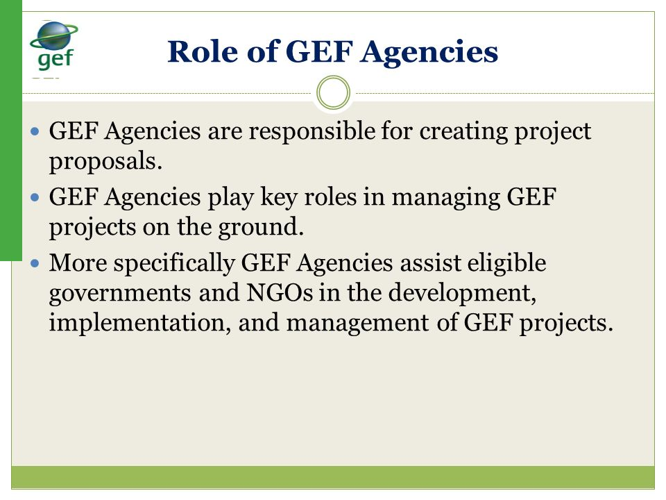 Role of GEF Agencies GEF Agencies are responsible for creating project proposals. GEF Agencies play key roles in managing GEF projects on the ground.
