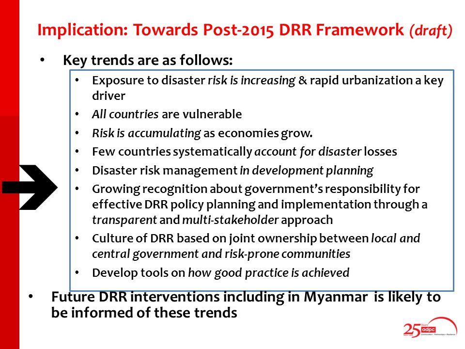 Outline of todays talk Changing DRR landscape in ASEAN region and linkages with Myanmar Post-2015 Framework for DRR at Global level Increased economic activity vis-à-vis disaster risks Climate Change: re-configuring disaster risks