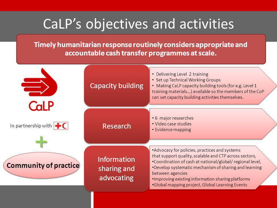 CaLPs objectives and activities Delivering Level 2 training Set up Technical Working Groups Making CaLP capacity building tools (for e.g.