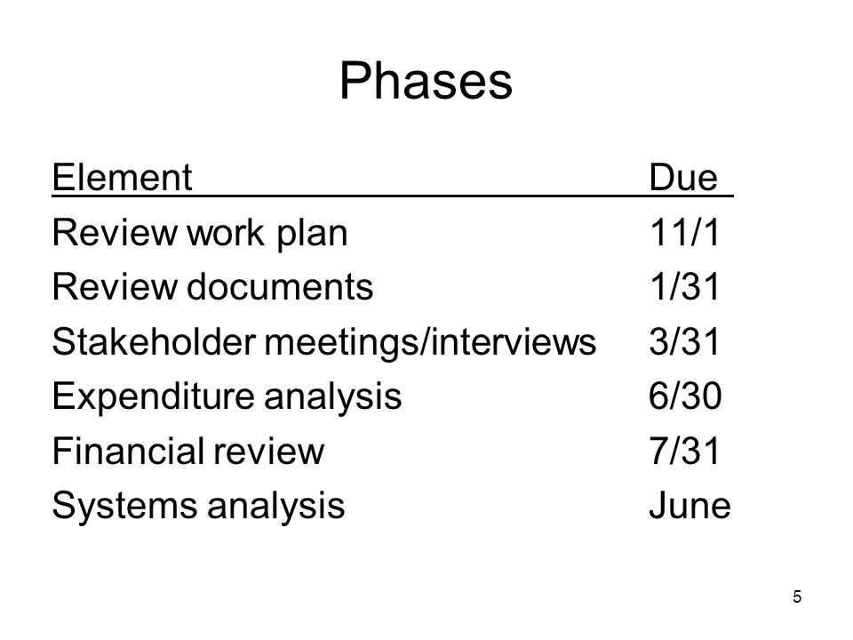 5 Phases ElementDue Review work plan11/1 Review documents 1/31 Stakeholder meetings/interviews3/31 Expenditure analysis6/30 Financial review7/31 Syste
