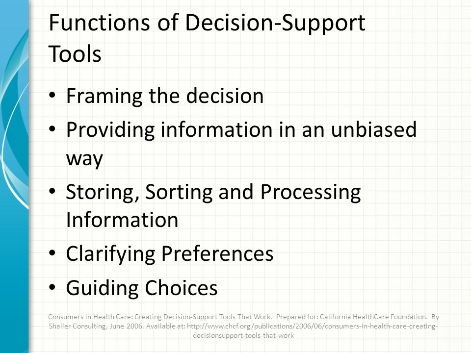 Functions of Decision-Support Tools Framing the decision Providing information in an unbiased way Storing, Sorting and Processing Information Clarifying Preferences Guiding Choices Consumers in Health Care: Creating Decision-Support Tools That Work.
