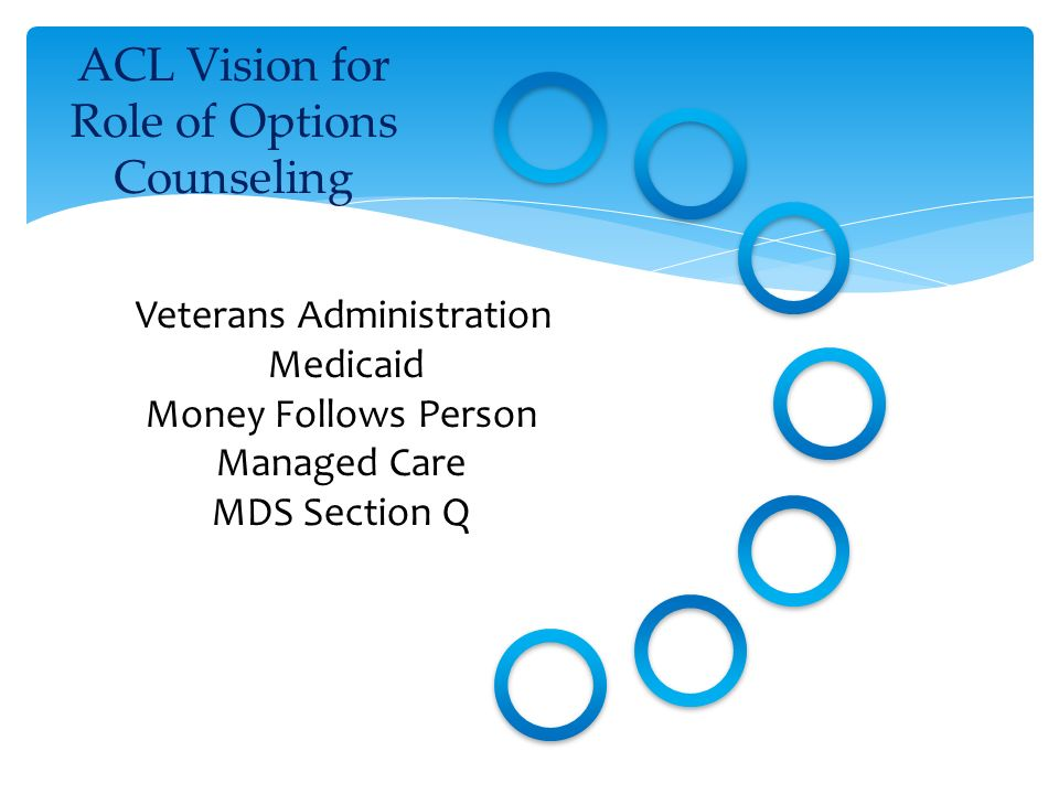 ACL Vision for Role of Options Counseling Veterans Administration Medicaid Money Follows Person Managed Care MDS Section Q