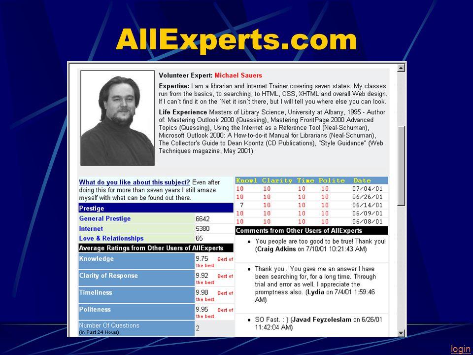login AllExperts.com
