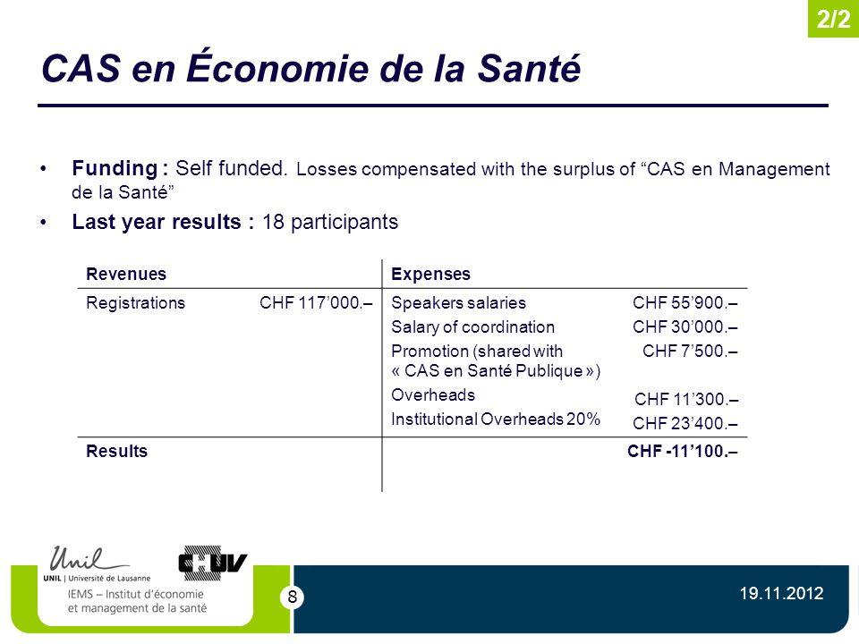 8 CAS en Économie de la Santé Funding : Self funded.