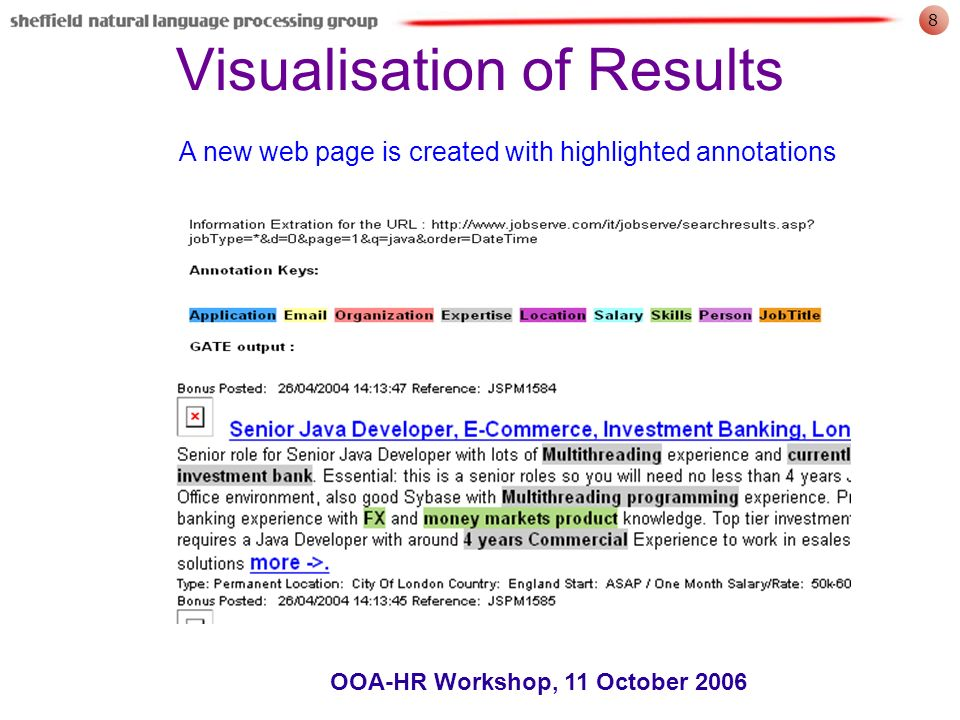 8 OOA-HR Workshop, 11 October 2006 Visualisation of Results A new web page is created with highlighted annotations