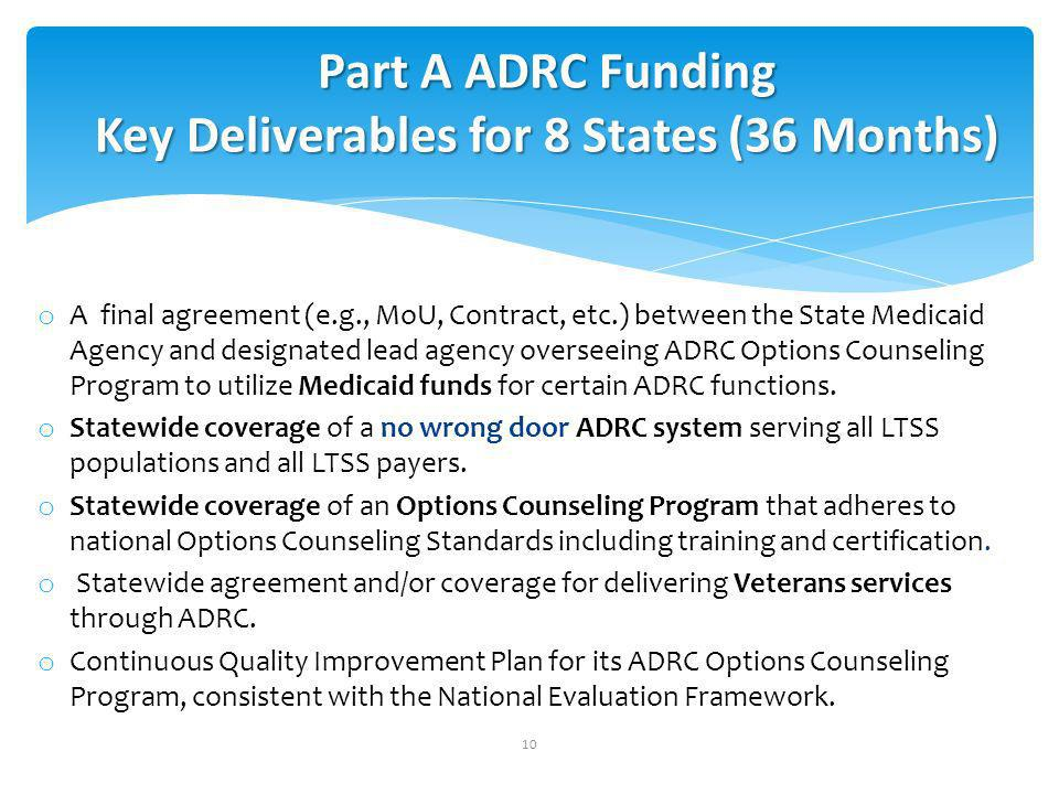 o A final agreement (e.g., MoU, Contract, etc.) between the State Medicaid Agency and designated lead agency overseeing ADRC Options Counseling Program to utilize Medicaid funds for certain ADRC functions.