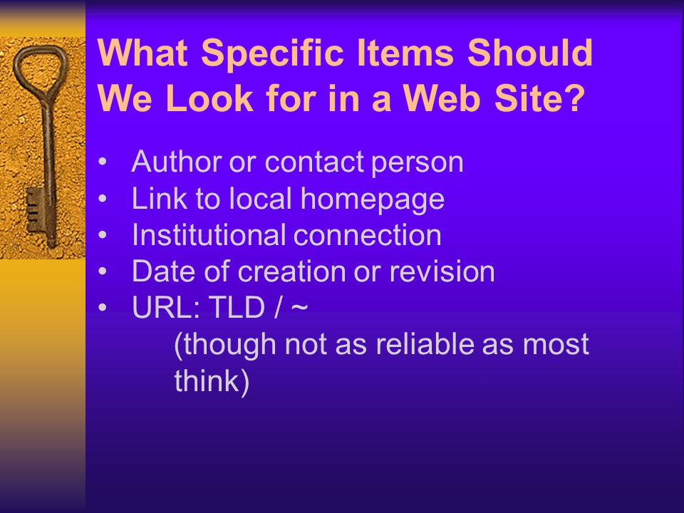 What Specific Items Should We Look for in a Web Site.