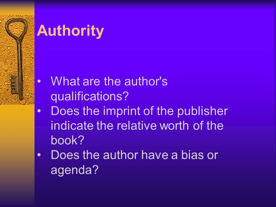 Authority What are the author s qualifications.