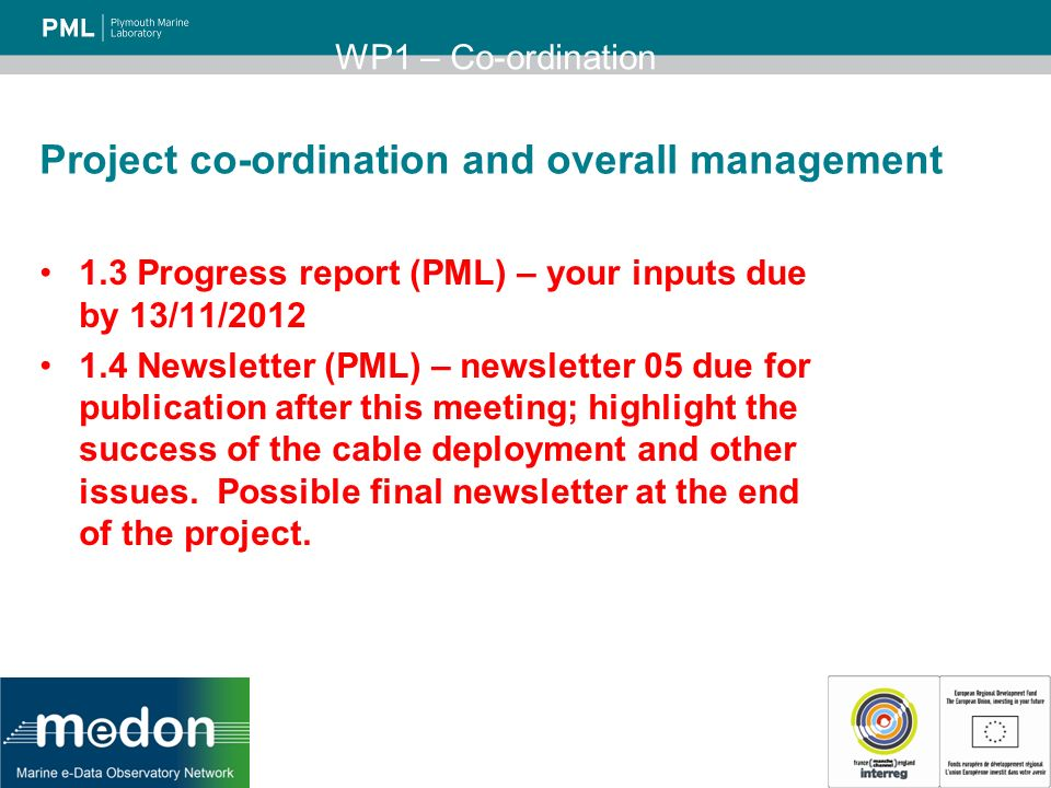 Project co-ordination and overall management 1.3 Progress report (PML) – your inputs due by 13/11/ Newsletter (PML) – newsletter 05 due for publication after this meeting; highlight the success of the cable deployment and other issues.