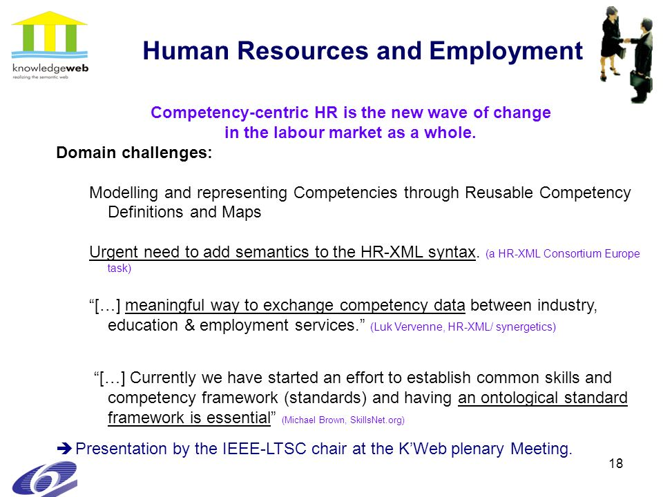18 Human Resources and Employment Competency-centric HR is the new wave of change in the labour market as a whole. Domain challenges: Modelling and re
