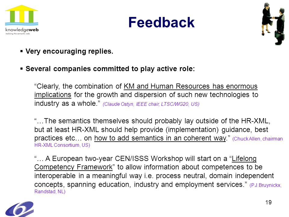 19 Feedback Very encouraging replies. Several companies committed to play active role: Clearly, the combination of KM and Human Resources has enormous
