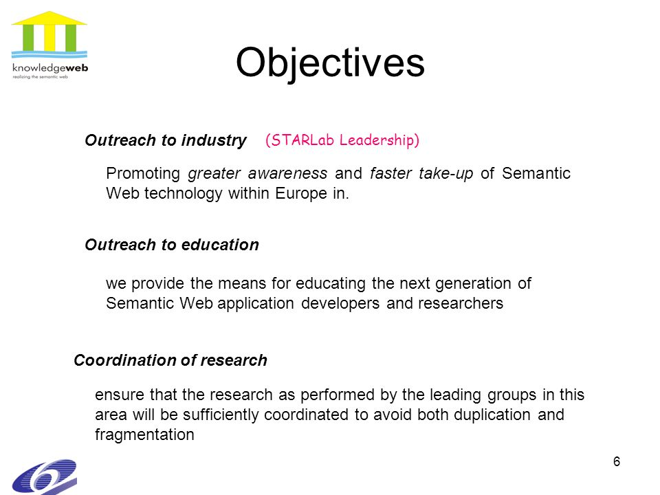 6 Objectives Promoting greater awareness and faster take-up of Semantic Web technology within Europe in. we provide the means for educating the next g