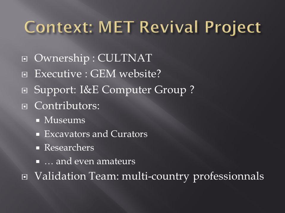 Ownership : CULTNAT Executive : GEM website? Support: I&E Computer Group ? Contributors: Museums Excavators and Curators Researchers … and even amateu