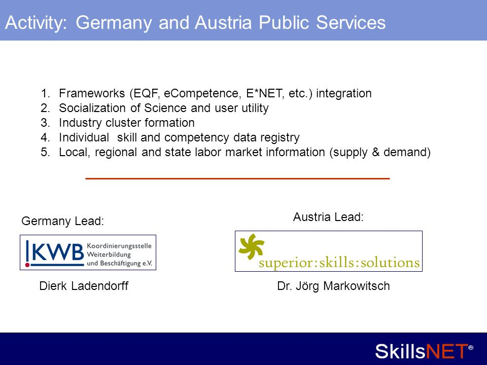 13 Company Confidential Activity: Germany and Austria Public Services 1.Frameworks (EQF, eCompetence, E*NET, etc.) integration 2.Socialization of Science and user utility 3.Industry cluster formation 4.Individual skill and competency data registry 5.Local, regional and state labor market information (supply & demand) Germany Lead: Dierk Ladendorff Austria Lead: Dr.