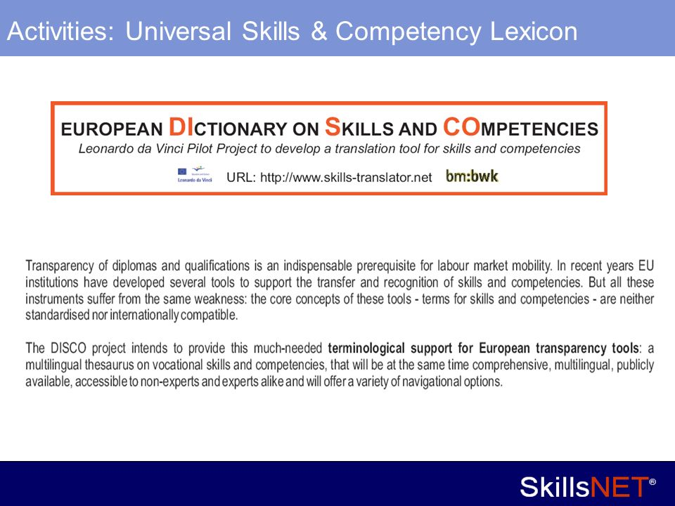 14 Company Confidential Activities: Universal Skills & Competency Lexicon