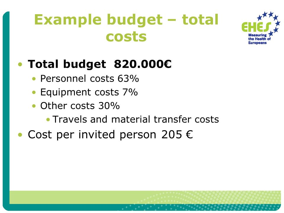 Example budget – total costs Total budget 820.000 Personnel costs 63% Equipment costs 7% Other costs 30% Travels and material transfer costs Cost per invited person 205