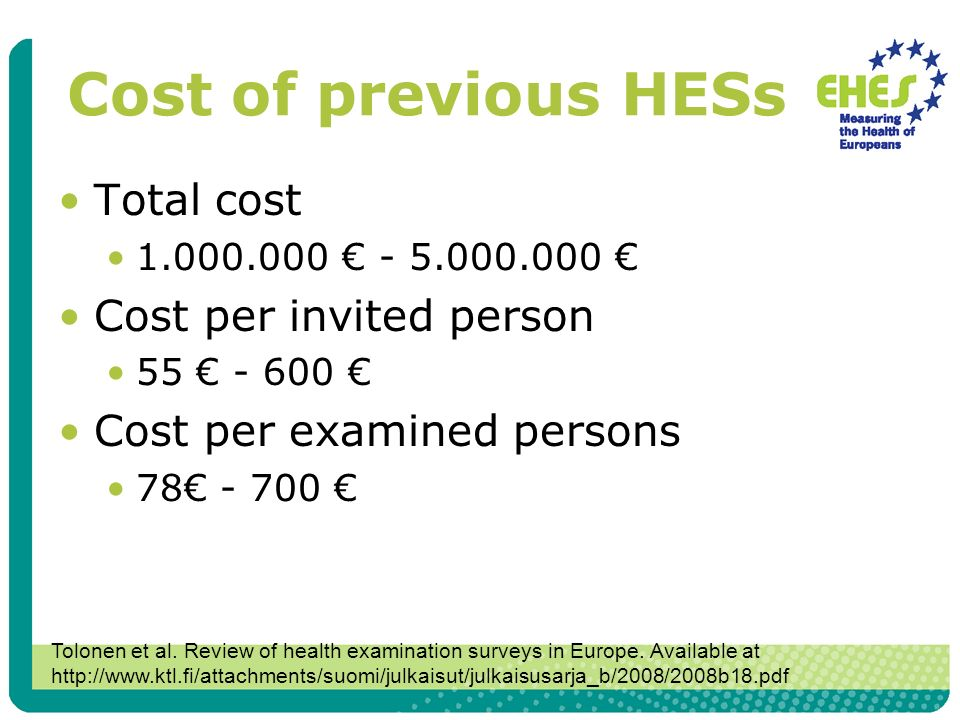 Cost of previous HESs Total cost 1.000.000 - 5.000.000 Cost per invited person 55 - 600 Cost per examined persons 78 - 700 Tolonen et al.