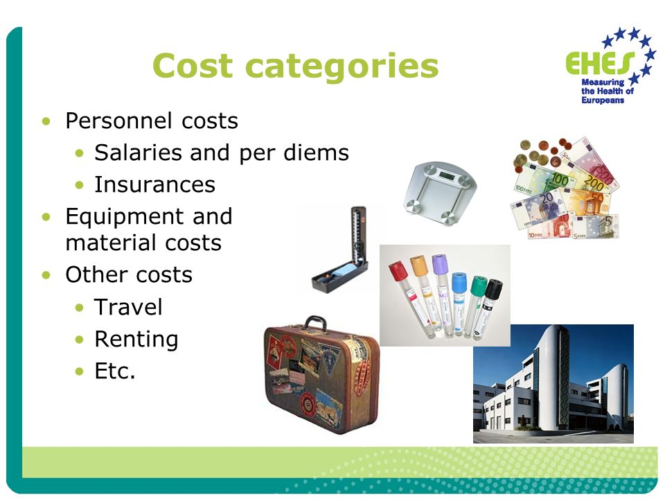 Personnel costs Salaries and per diems Insurances Equipment and material costs Other costs Travel Renting Etc.