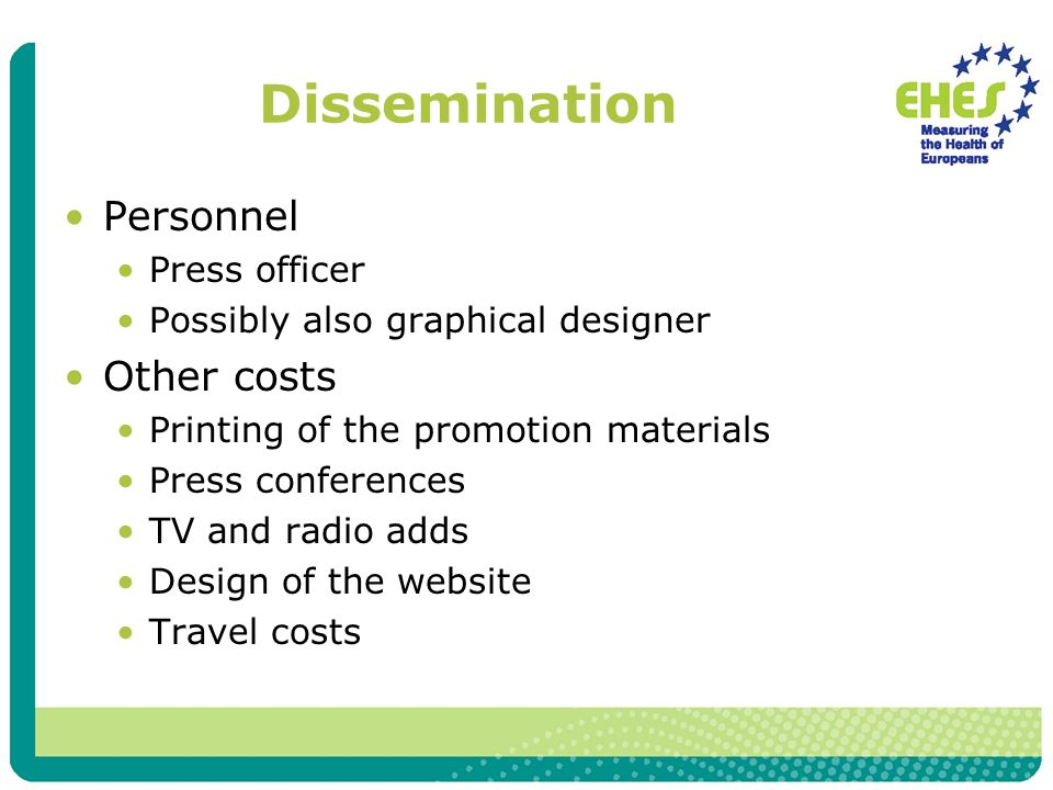 Dissemination Personnel Press officer Possibly also graphical designer Other costs Printing of the promotion materials Press conferences TV and radio adds Design of the website Travel costs