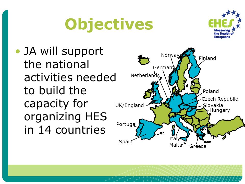 Objectives JA will support the national activities needed to build the capacity for organizing HES in 14 countries