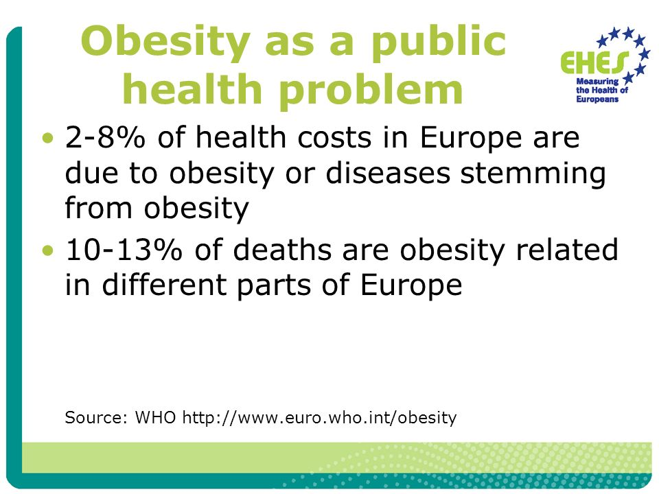 Obesity as a public health problem 2-8% of health costs in Europe are due to obesity or diseases stemming from obesity 10-13% of deaths are obesity related in different parts of Europe Source: WHO http://www.euro.who.int/obesity