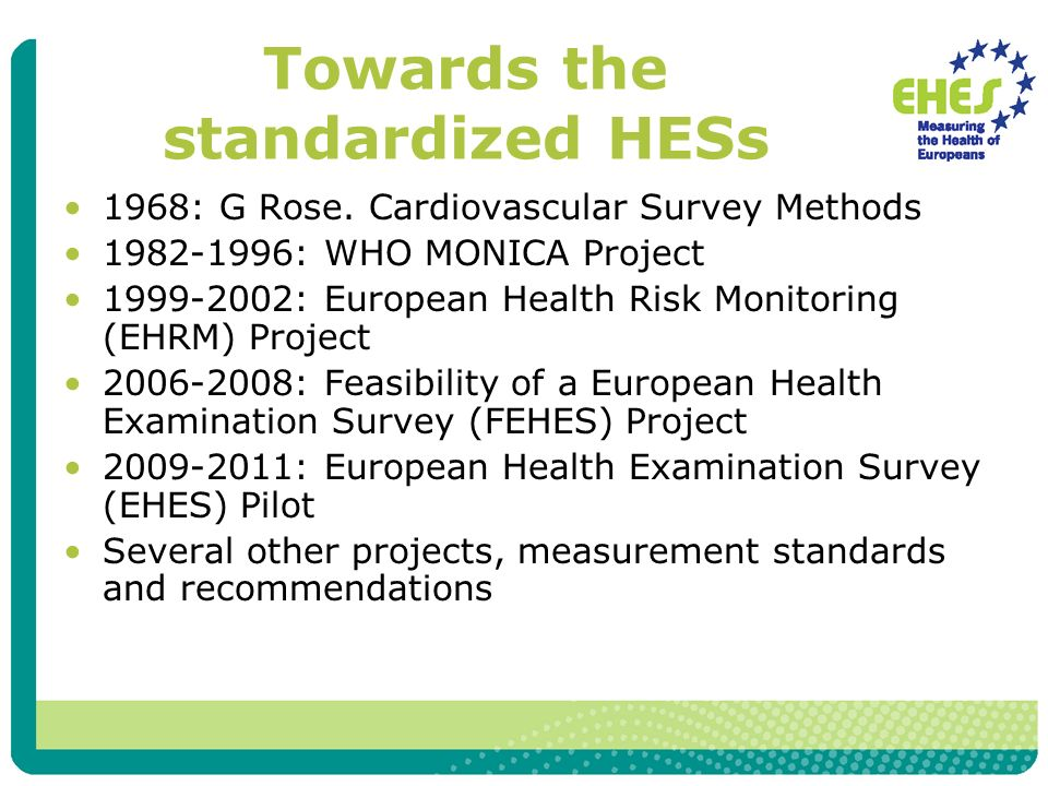1968: G Rose. Cardiovascular Survey Methods 1982-1996: WHO MONICA Project 1999-2002: European Health Risk Monitoring (EHRM) Project 2006-2008: Feasibi