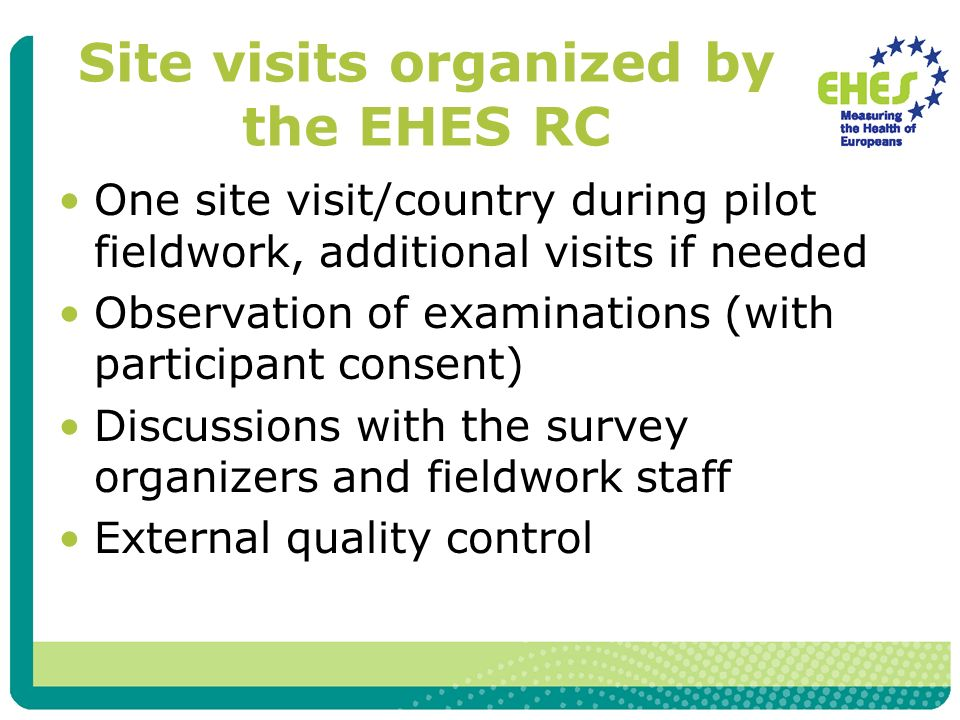Site visits organized by the EHES RC One site visit/country during pilot fieldwork, additional visits if needed Observation of examinations (with participant consent) Discussions with the survey organizers and fieldwork staff External quality control