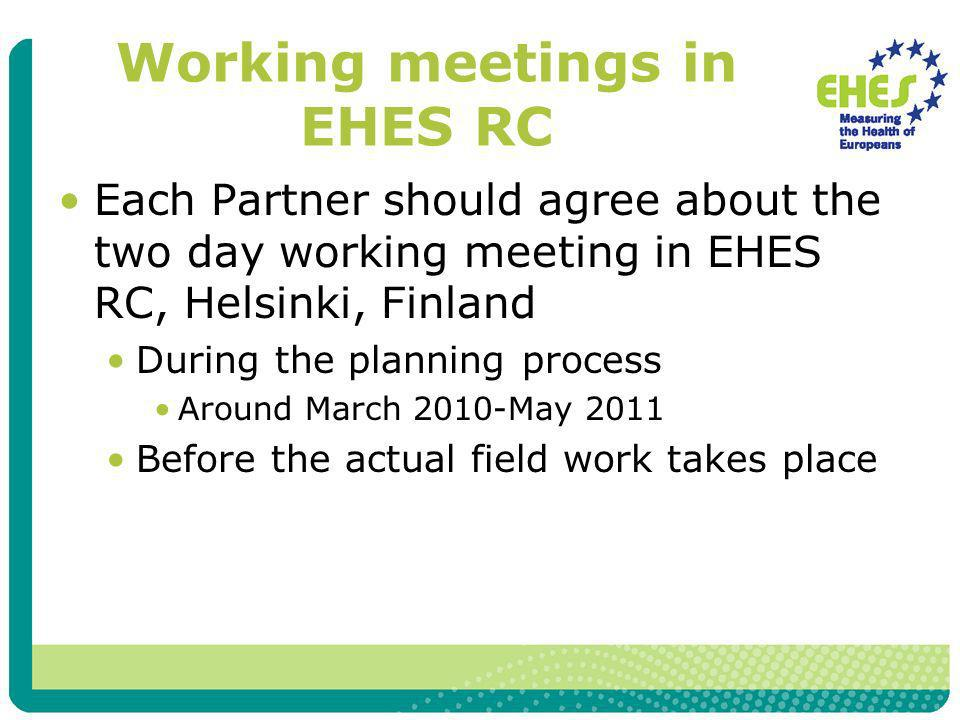Working meetings in EHES RC Each Partner should agree about the two day working meeting in EHES RC, Helsinki, Finland During the planning process Around March 2010-May 2011 Before the actual field work takes place