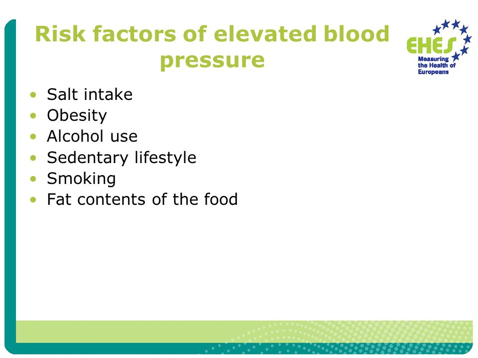 Risk factors of elevated blood pressure Salt intake Obesity Alcohol use Sedentary lifestyle Smoking Fat contents of the food