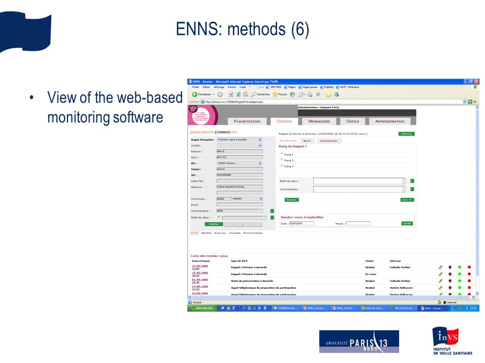 ENNS: methods (6) View of the web-based monitoring software