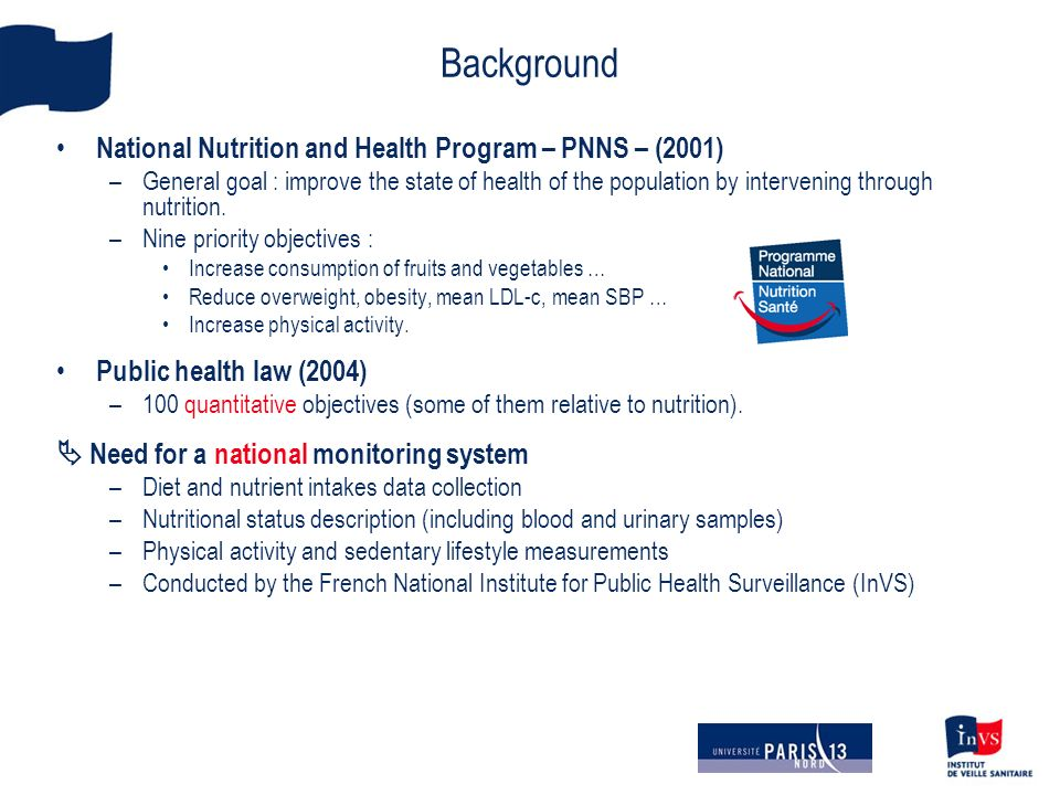 Background National Nutrition and Health Program – PNNS – (2001) –General goal : improve the state of health of the population by intervening through nutrition.