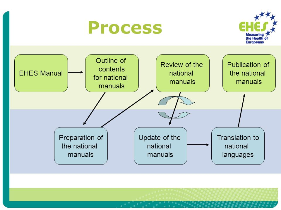 Process EHES Manual Outline of contents for national manuals Preparation of the national manuals Review of the national manuals Update of the national manuals Translation to national languages Publication of the national manuals