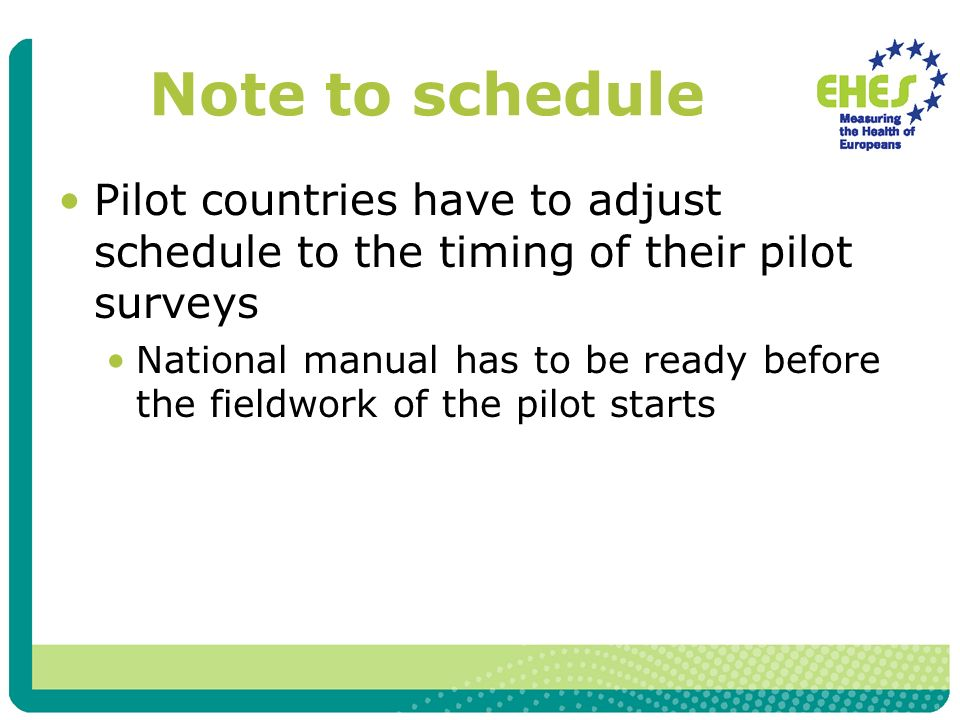Note to schedule Pilot countries have to adjust schedule to the timing of their pilot surveys National manual has to be ready before the fieldwork of the pilot starts