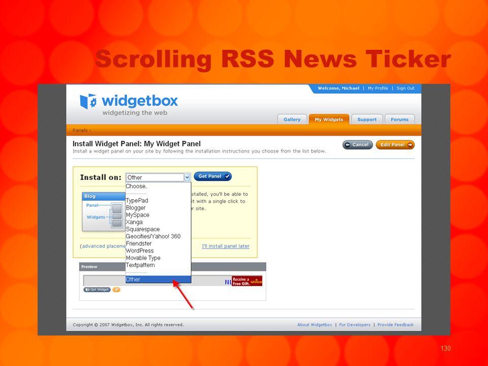 130 Scrolling RSS News Ticker