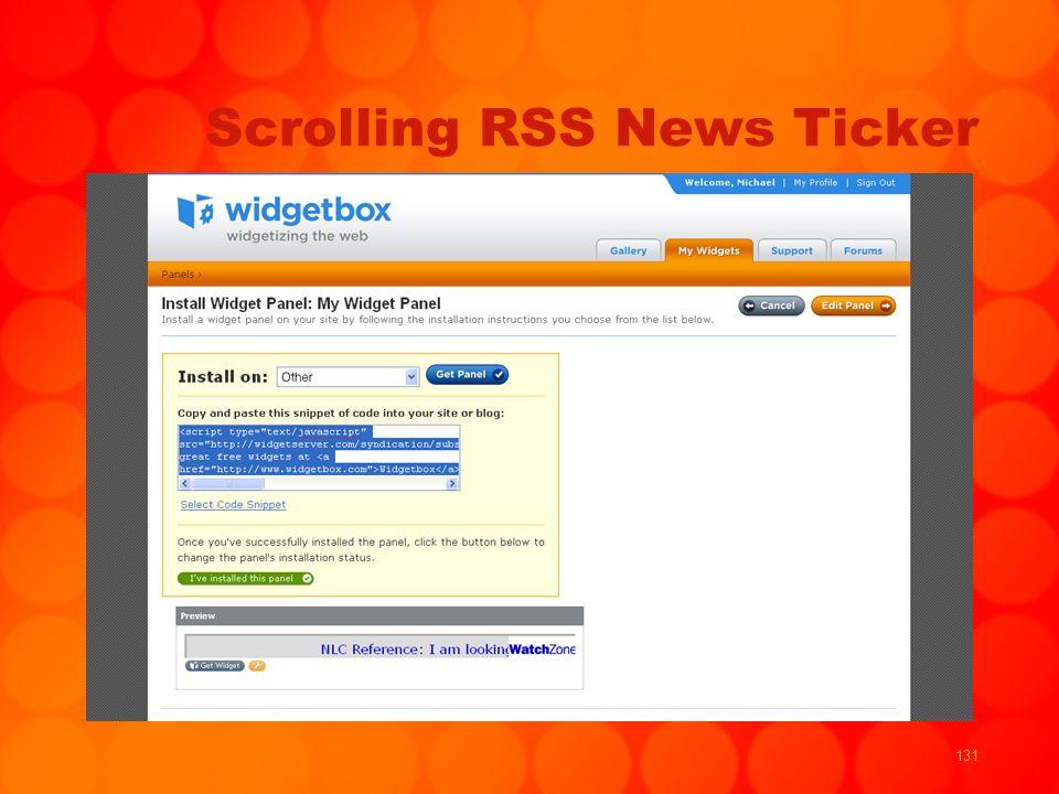 131 Scrolling RSS News Ticker