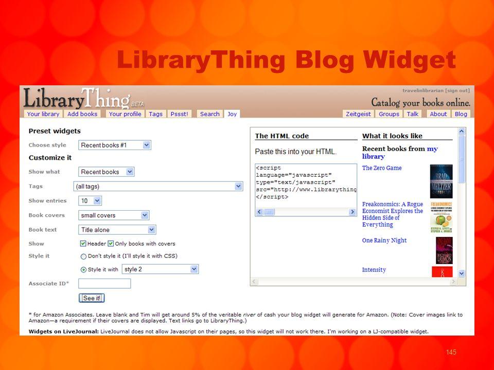 145 LibraryThing Blog Widget