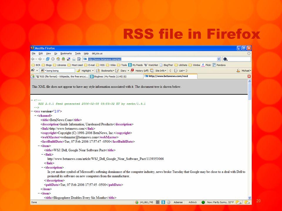 20 RSS file in Firefox