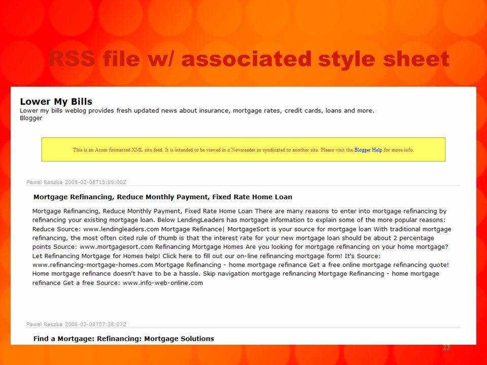 23 RSS file w/ associated style sheet